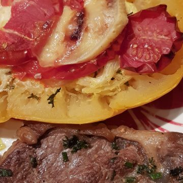 #p Courge spaghetti gratinée et son faux filet grillé